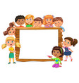 cute kids standing near blank wooden banner vector image vector image