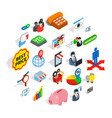 deal icons set isometric style vector image vector image