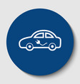 electric car sign white contour icon in vector image vector image