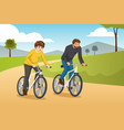 father and son going biking outdoors vector image
