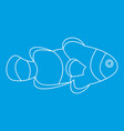 fish clown icon outline style vector image vector image