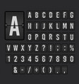 flip board font set mechanical display design vector image