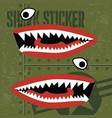 flying tiger shark mouth sticker vinyl on green vector image vector image