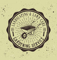 gardening service emblem with wheelbarrow vector image