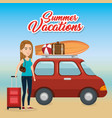 girl in the beach with summer vacations icons vector image vector image