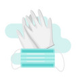 gloves and mask in flat style vector image