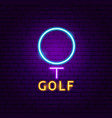 golf neon label vector image