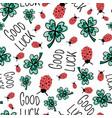 good luck charms seamless pattern ladybug vector image vector image