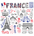 hand drawn doodles set of france - eiffel tower vector image vector image