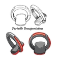 Hand drawn set Portable Transportation One vector image vector image