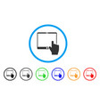 hand points mobile tablet rounded icon vector image