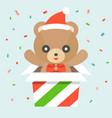 happy cute teddy bear wears santa hat vector image vector image