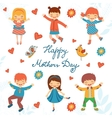 Happy Mothers day card with happy kids jumping vector image