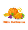 happy thanksgiving day poster with food vector image vector image