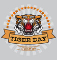 international tiger day emblem with angry tiger vector image