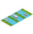 isometric modern modern city with water river vector image vector image