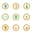 litter icons set cartoon style vector image vector image