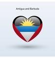 Love Antigua and Barbuda symbol Heart flag icon vector image vector image