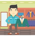 Man holding suit jacket in clothing store vector image vector image