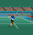 men playing badminton in the competition vector image vector image