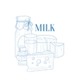 Milk And Cheese Hand Drawn Realistic Sketch vector image