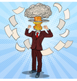 pop art stressed businessman with explosion head vector image