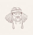 portrait of ancient warrior with beard and braids vector image vector image