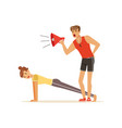 professional fitness coach with megaphone and vector image vector image