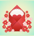 realistic envelope with heart lace and flowers vector image vector image