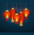red traditional chinese lanterns vector image vector image