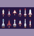 rocket icons starting spaceships and spacecrafts vector image vector image
