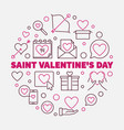 saint valentines day round linear vector image vector image