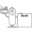 Sausage Cartoon Serving Food vector image vector image