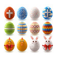 set easter painted eggs vector image vector image