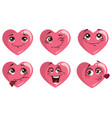 set hearts with emotions collection hearts vector image vector image