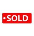 sold icon on white background sold tag sign flat vector image vector image