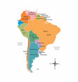 south america colorful map vector image