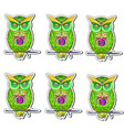 sticker with bright colorful owls vector image vector image