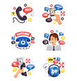 support call center flat compositions vector image