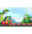 Train and mountain vector image vector image