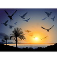 Tropical sea landscape with flock of flying bird vector image vector image