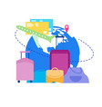 vacation flight with baggage flat concept vector image