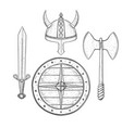 viking armor set - helmet shield sword and axe vector image vector image