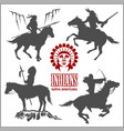 wild west silhouettes - native american warriors vector image vector image