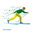 winter sports - skiing cartoon skier running vector image vector image