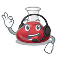with headphone red wine decanter isolated on vector image