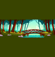 wooden bridge crossing river in forest vector image vector image