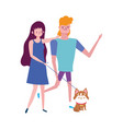 young couple walking with little dog isolated vector image vector image