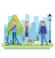 young people with dogs in the park vector image