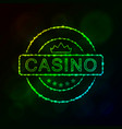 casino emblem silhouette of lights vector image